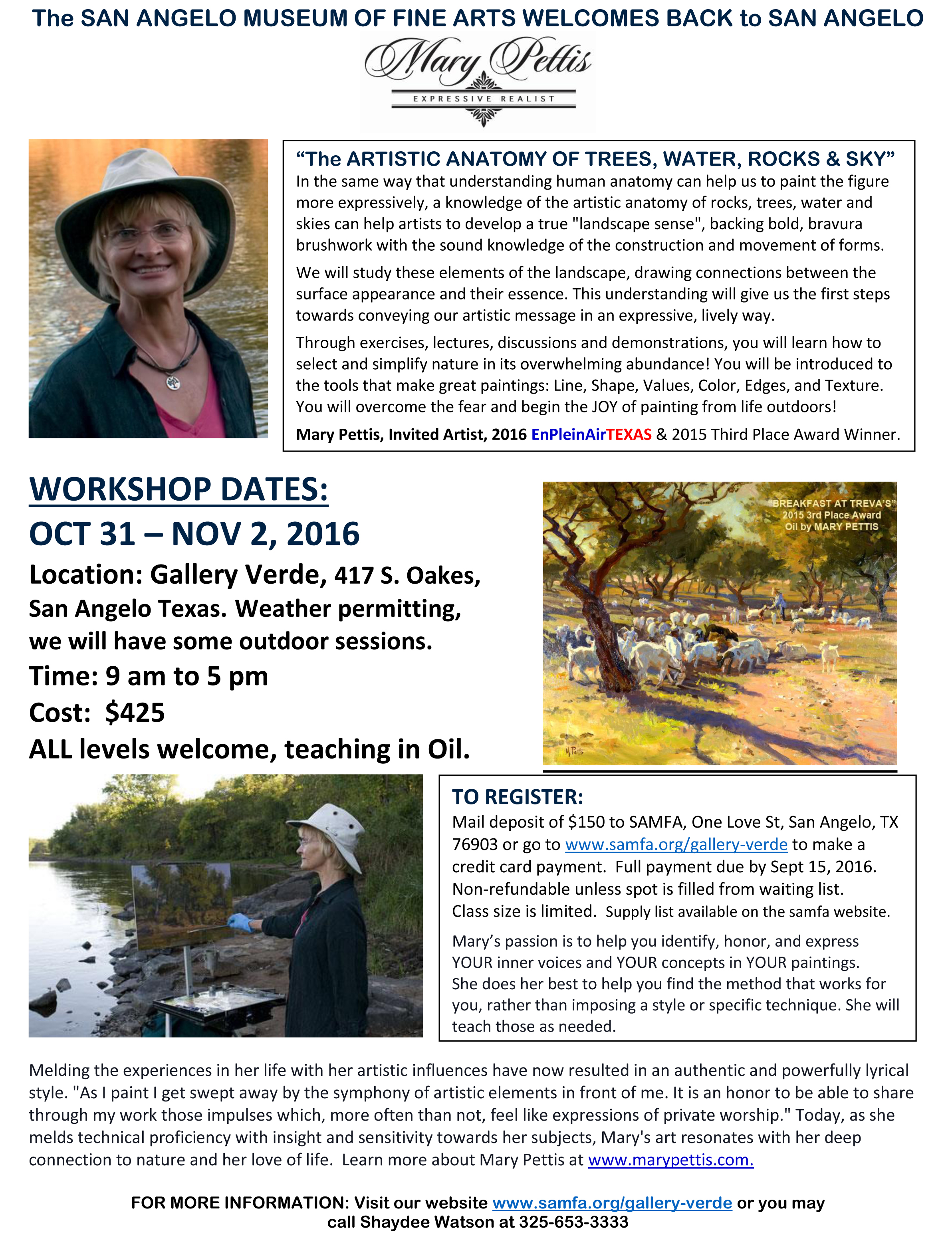 Mary Pettis Workshop Information San Angelo Museum Of Fine Arts