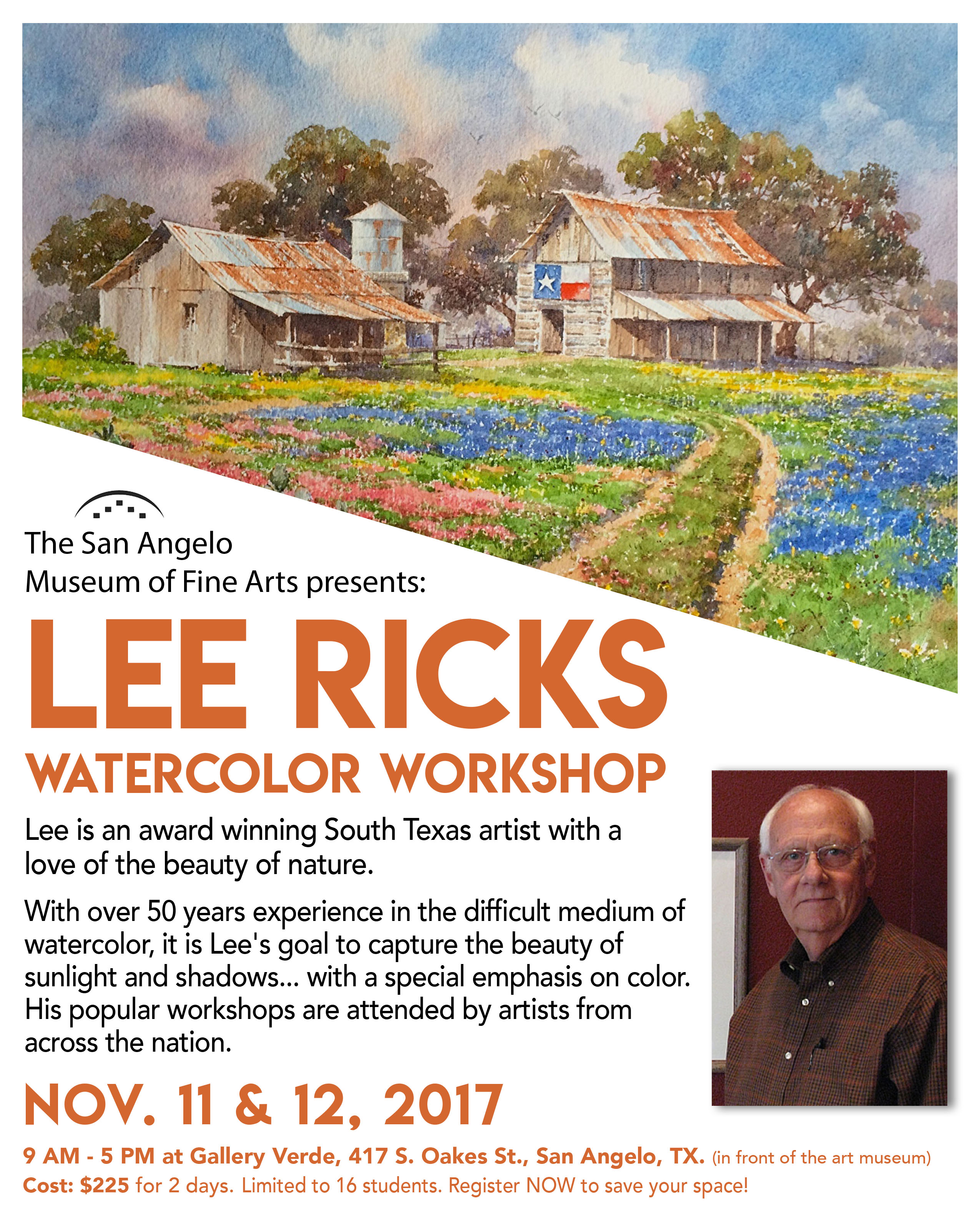 Lee Ricks Watercolor Workshop Flyer